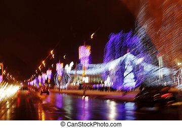 Blurred abstract image of festive illumination at night
