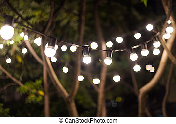 Blurred background, backyard illumination, light in the evening garden, electric lanterns with round diffuser. Lamp garland of light bulbs on a tree branch among the leaves, illuminate night scene.