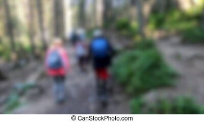 Blurred background. Group of people climbs slope on mountain. Sun shines through trees on hillside. Walking on dirt mountain trail, hiking in mountains. Concept travel activities. Natural background