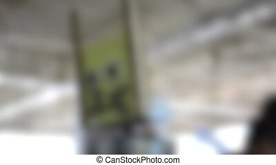 Blurred background. homemade robot head turns from side to side, HD 1080