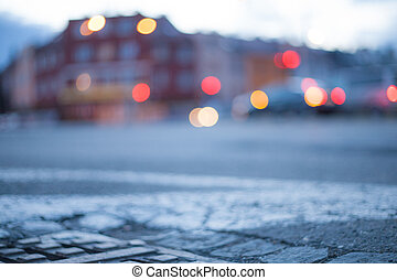 Blurred background - night street with street lights, great for