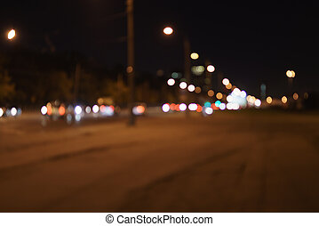 blurred background of night city cars lights
