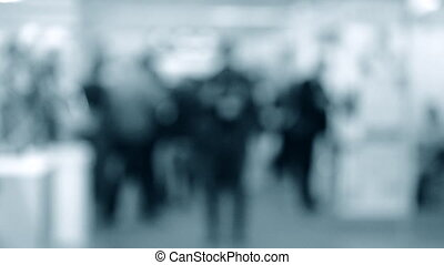 Blurred Background people at mall exhibition walking ...