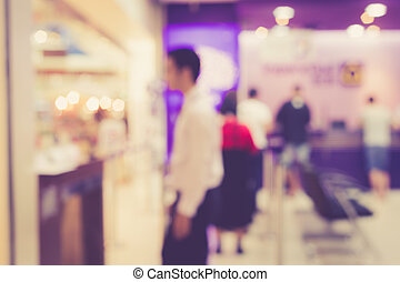 Blurred background : People in the bank with bokeh