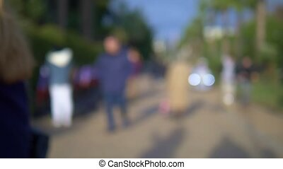 blurred background. people walking in the park along the alley on a sunny day