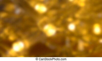 Blurred background. Small LED lamp garland closeup.