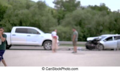 blurred background. terrible car accident on the highway,...