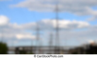 Blurred background. timelapse or fast video power lines and ...