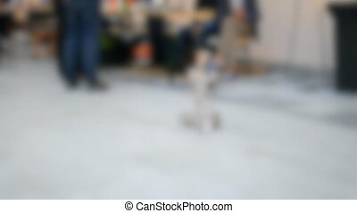Blurred background. Toy robots prototypes close-up concept automation background.