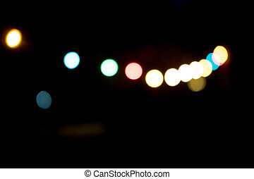 Blurred background with lights at night
