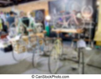 Blurred bike shop