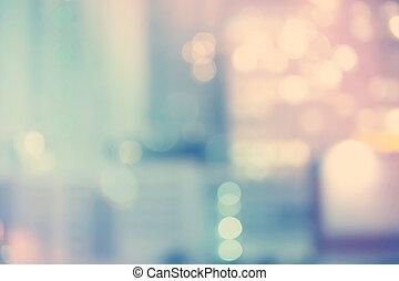Blurred blue cityscape background scene