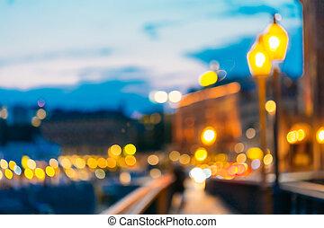 Blurred Bokeh Background With Defocused Lights In Stockholm, Swe