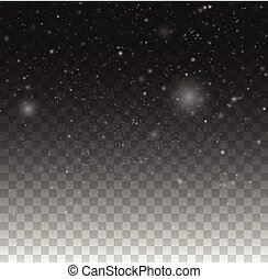 Blurred bokeh particles. Transparent snowflake background. Christmas snow fall winter illustration