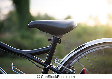 blurred bycicle with sun light.