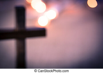 Blurred Christian Cross and Bokeh Lights - A background of...