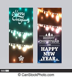 Blurred Christmas Invitation On Holiday. Vector New Year Flyer. Creative Xmas Banners with lights.