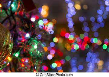 Blurred Christmas Lights and Reflections - Multicolored...