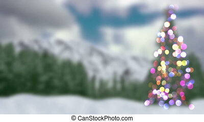 blurred christmas tree and forest loopable animation