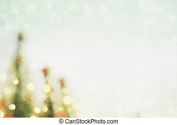Blurred Christmas Tree Background with Bokeh