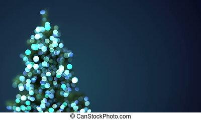 blurred christmas tree blue lights loopable