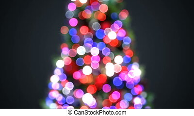 Blurred Christmas Tree Lights Blinking in Defocused Bokeh....