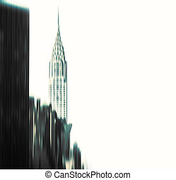 Blurred Chrysler building and Manhattan architecture