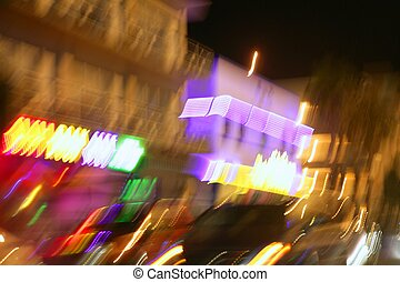 Blurred city lights motion blur colorful background