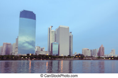 Blurred city skyline background
