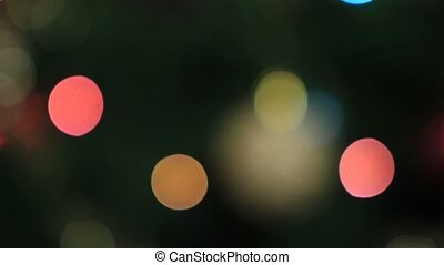 Blurred colorful bokeh circles of christmas lights