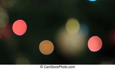 Blurred colorful bokeh circles of christmas lights