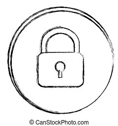 blurred contour circular frame with silhouette padlock