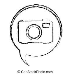 blurred contour dialogue box with silhouette tech digital camera