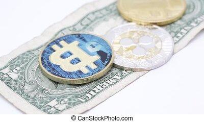 blurred crumpled dollar money and bitcoin - blurred crumpled...