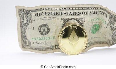 blurred crumpled dollar money and ethereum bitcoin...