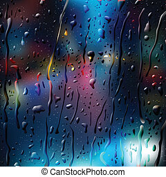Defocused Lights of City Road at Night, view through wet glass, vector Eps 10 illustration.