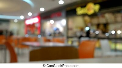 Blurred defocused people in food court indoor