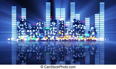 blurred equalizer and night city
