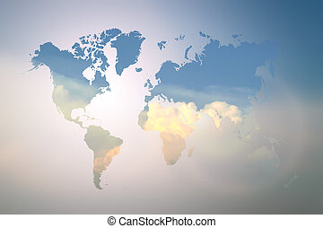Blurred  Flare Blue sky with world map