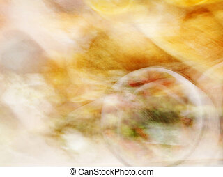 Blurred food in restaurant. abstract motion blur effect