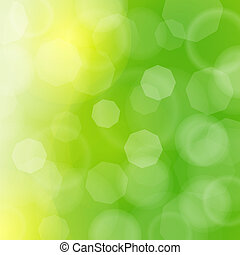 Blurred green sparkles and bokeh