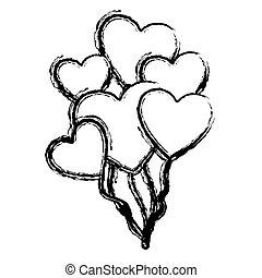 blurred hand drawn silhouette with balloons of hearts