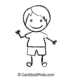 blurred hand drawn silhouette with boy