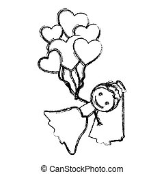 blurred hand drawn silhouette with bride and balloons of hearts
