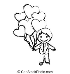 blurred hand drawn silhouette with groom and balloons of hearts