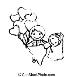 blurred hand drawn silhouette with married couple and balloons of hearts