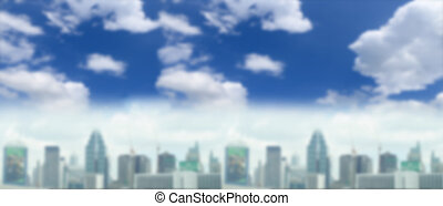 Blurred image of building with sky