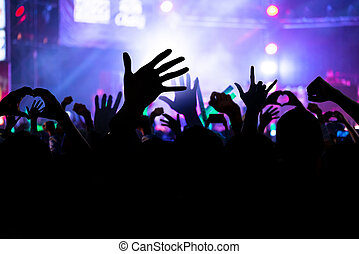 blurred image of crowd of cheering fans during a live concert, live music concert