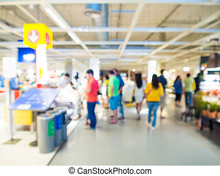 Blurred image of people shopping at mall of home decor, Business blurred background