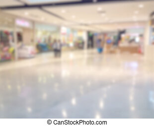 blurred image of shopping mall and people, in department store.